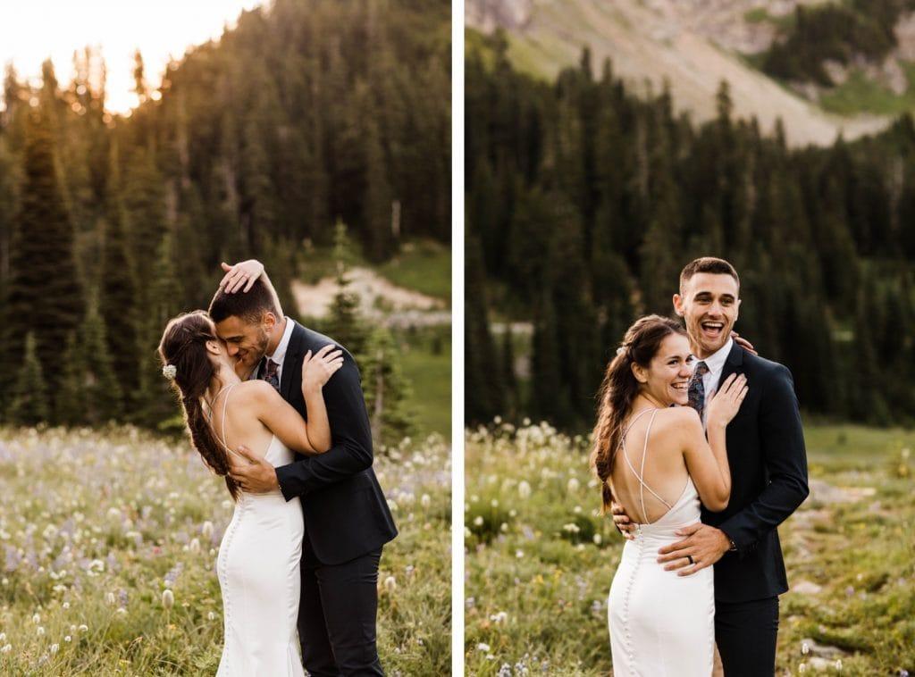 alpine meadow elopement photos in Mount Rainier | national park elopement photographers in Seattle Washington