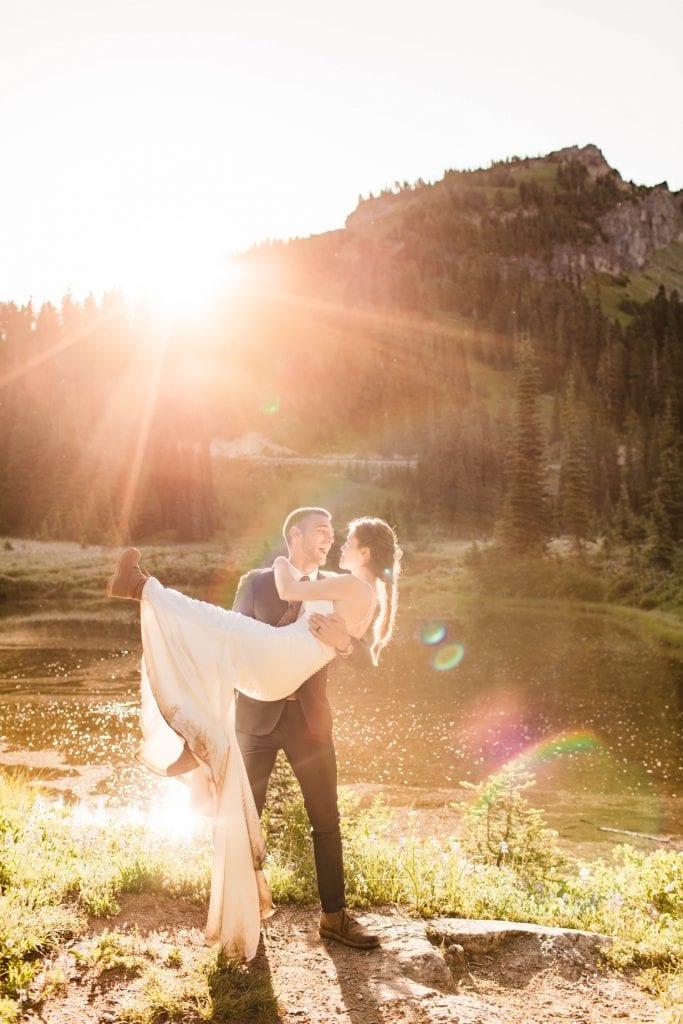 Mt Rainier national park elopement photos in Washington state | Seattle elopement photographers and adventure wedding photographers
