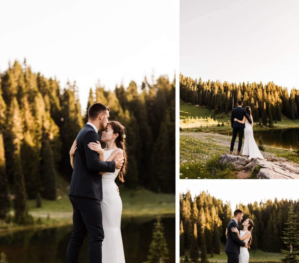 eloping couple watching the sun rise during their Mount Rainier National Park elopement | adventure wedding elopement photographers in Seattle Washington state