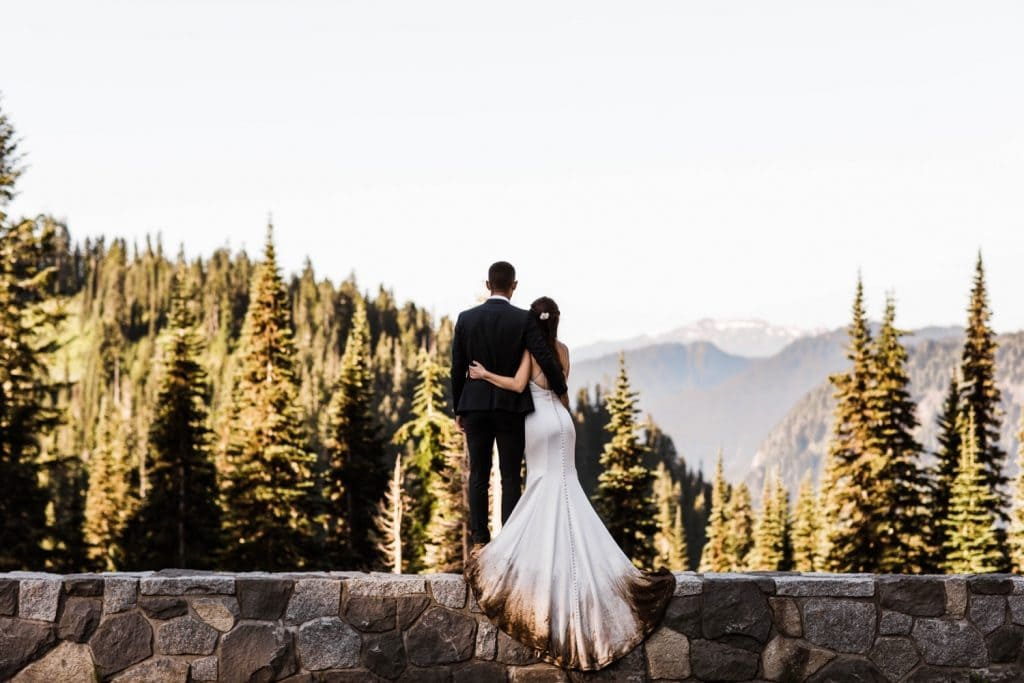 sunrise mountain adventure elopement photos in Mt Rainier National Park | Washington state elopement photographers