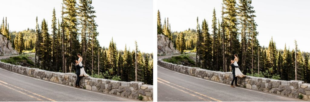 sunrise mountain adventure elopement photos in Mt Rainier National Park | Washington state elopement photographers