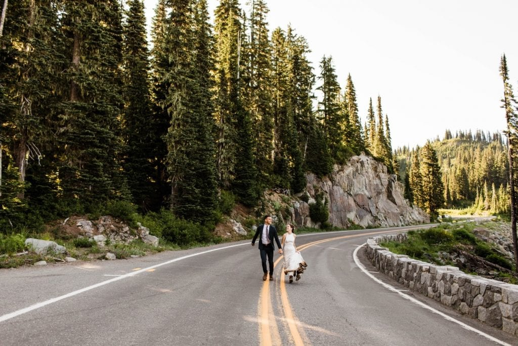 sunrise hiking elopement photos in Mt Rainier National Park | Washington state elopement adventures