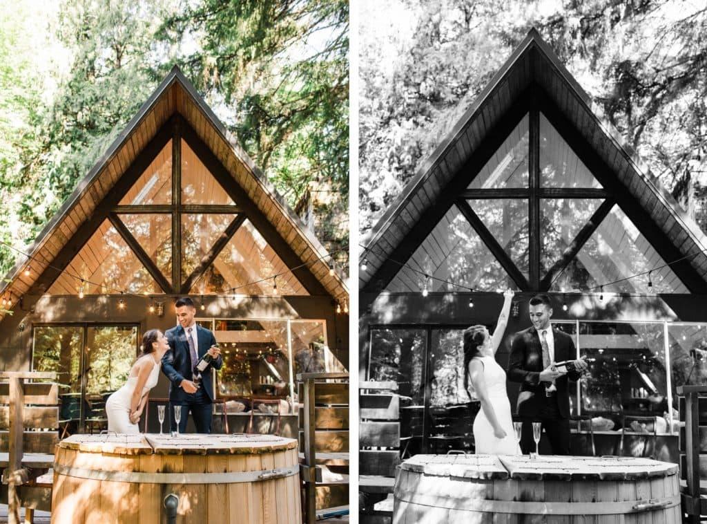 a-frame cabin elopement photos in Mt Rainier National Park | Washington state elopements