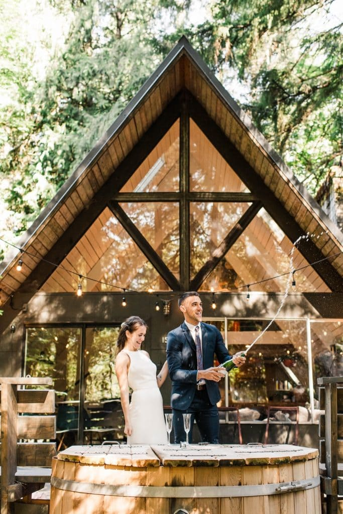 a-frame cabin elopement photos in Mt Rainier National Park | Washington state elopements
