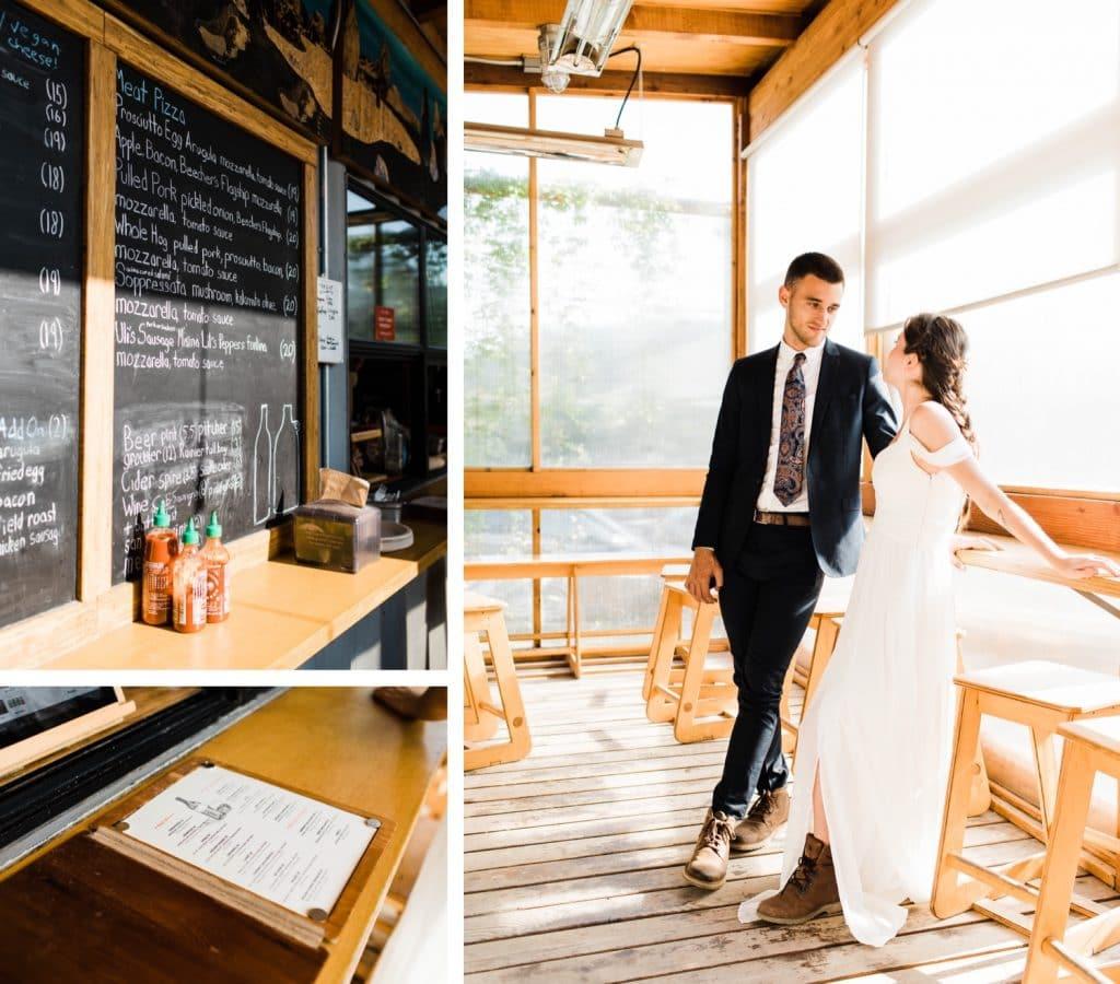 post-elopement dinner at Humble Pie in Seattle Washington | Mt Rainier elopement photographers