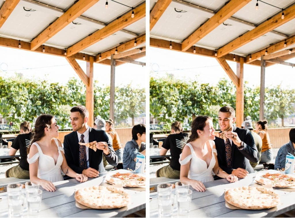 couple eating pizza at Humble Pie after their Mt Rainier elopement in a national park | Washington state elopements