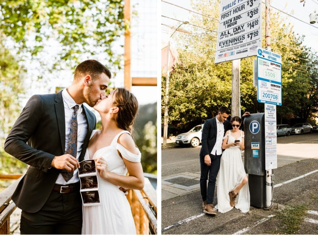 eloping couple with their ultrasound after their Mt Rainier elopement | Washington state elopements near Seattle