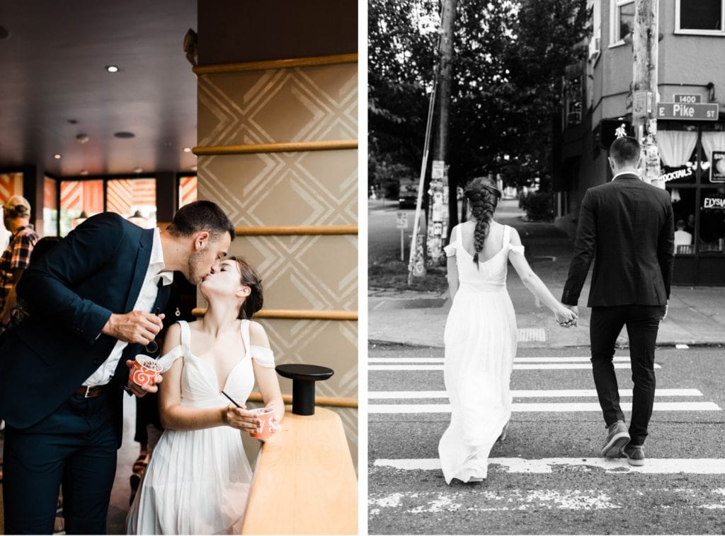 eloping couple wandering around Seattle and eating ice cream at Salt and Straw after their Mt Rainier elopement | Seattle Washington elopement photographers