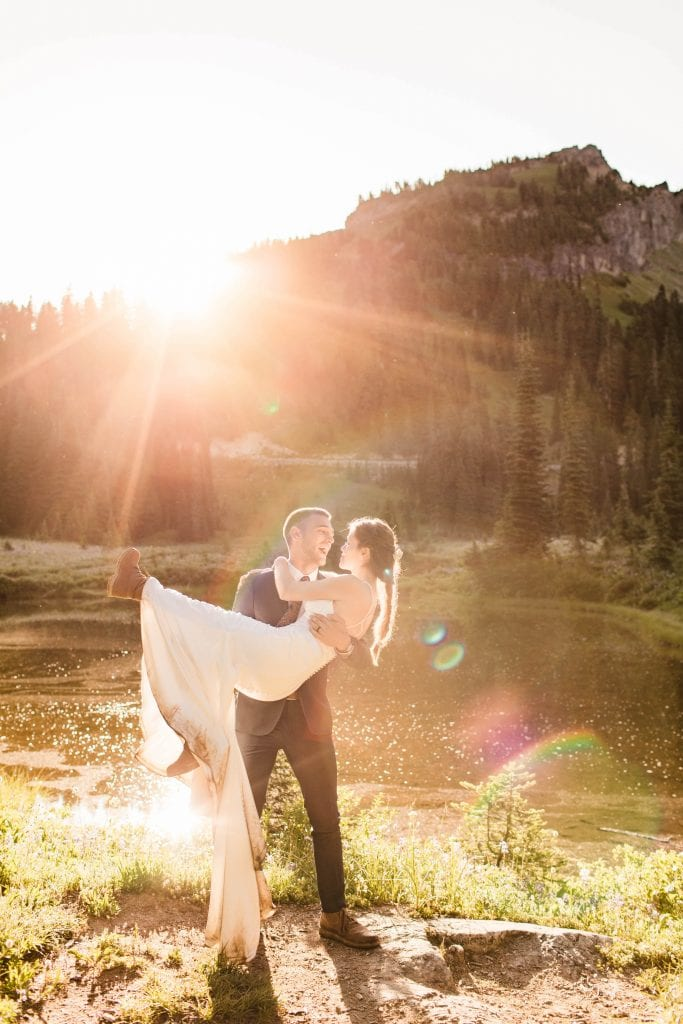 Mt Rainier national park elopement photos in Washington state | Seattle elopement photographers and adventure wedding photographers