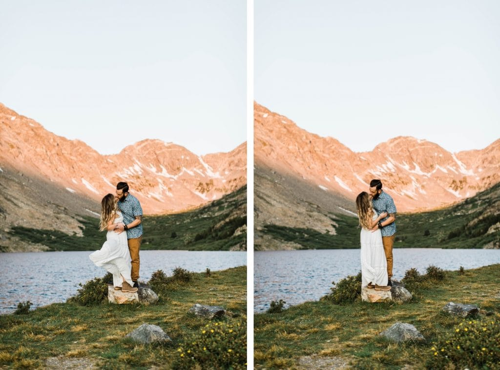 couple kissing in their wedding attire during their Breckenridge adventure session in the Colorado mountains | adventure elopement photographers in Colorado