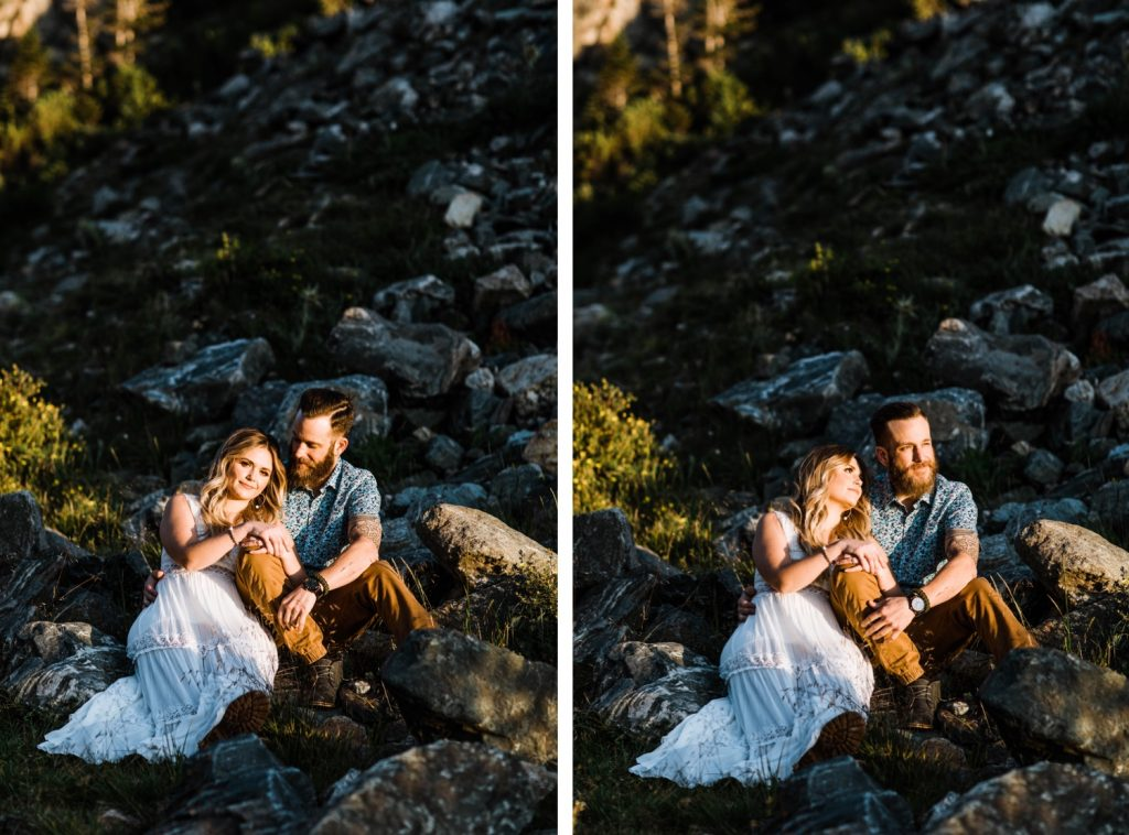 sunrise Breckenridge elopement style photos during an engaged couple's mountain adventure engagement photos | Breckenridge wedding photographers