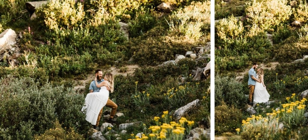 groom spinning bride in a mountain wildflower meadow during elopement style photos in Colorado | Breckenridge wedding and elopement photographers