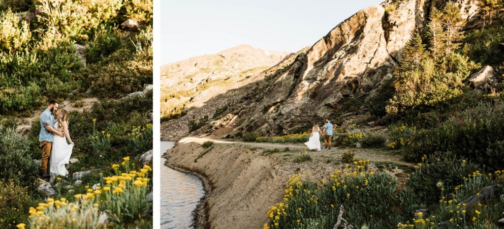 eloping couple kissing in an alpine wildflower meadow | Breckenridge elopement and mountain wedding photographers