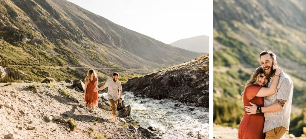 eloping couple walking into a mountain creek during their Breckenridge elopement style adventure session | Colorado elopement photographers in Breckenridge