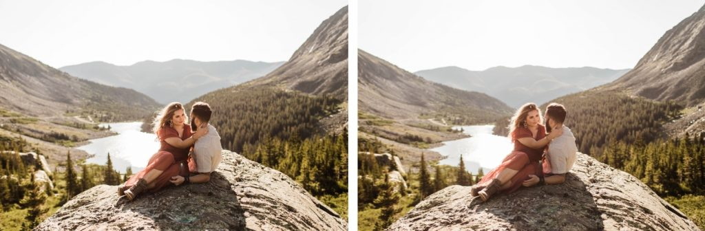 couple planning to elope in Breckenridge dancing at sunrise on top of a mountain | adventurous Breckenridge wedding photographers