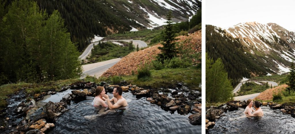couple hanging out in a mountain hot spring during their Telluride engagement photos in Colorado