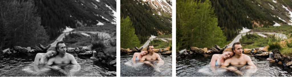 couple enjoying a secret hot spring in Telluride Colorado while they get their engagement photos taken