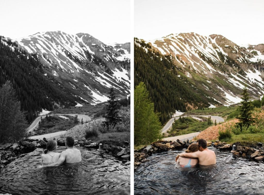 adventurous mountain engagement photos taken at a secret hot spring in Telluride Colorado