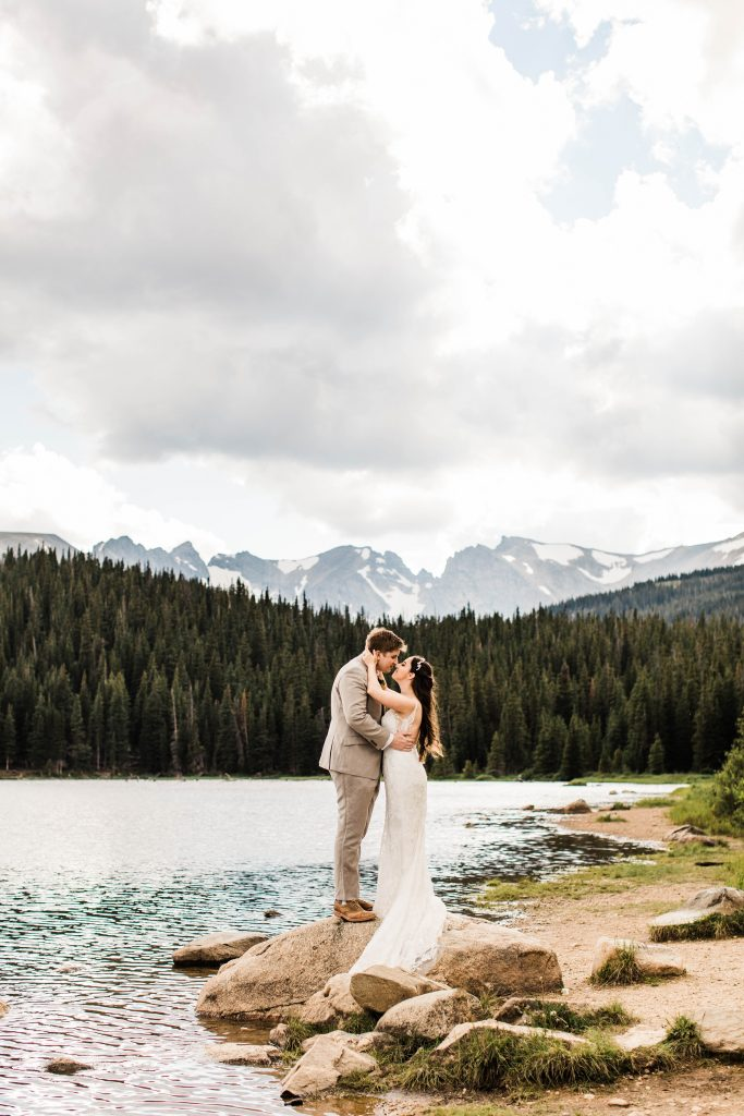 Colorado elopement adventure session near Brainard Lake with a storm rolling in behind the mountains