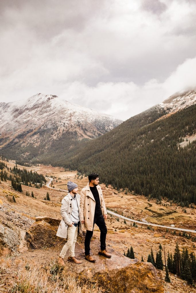 Aspen Colorado elopement photos on a mountain pass taken in September by adventure wedding photographers