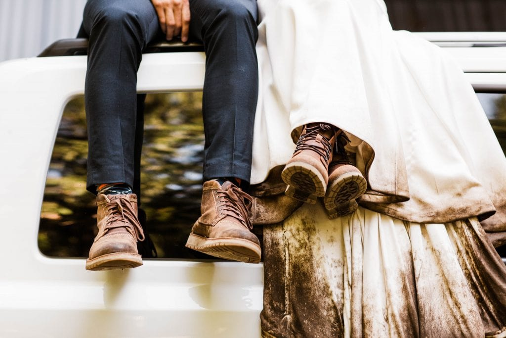 Dirty boots after an adventure elopement in the mountains | Colorado elopement packages