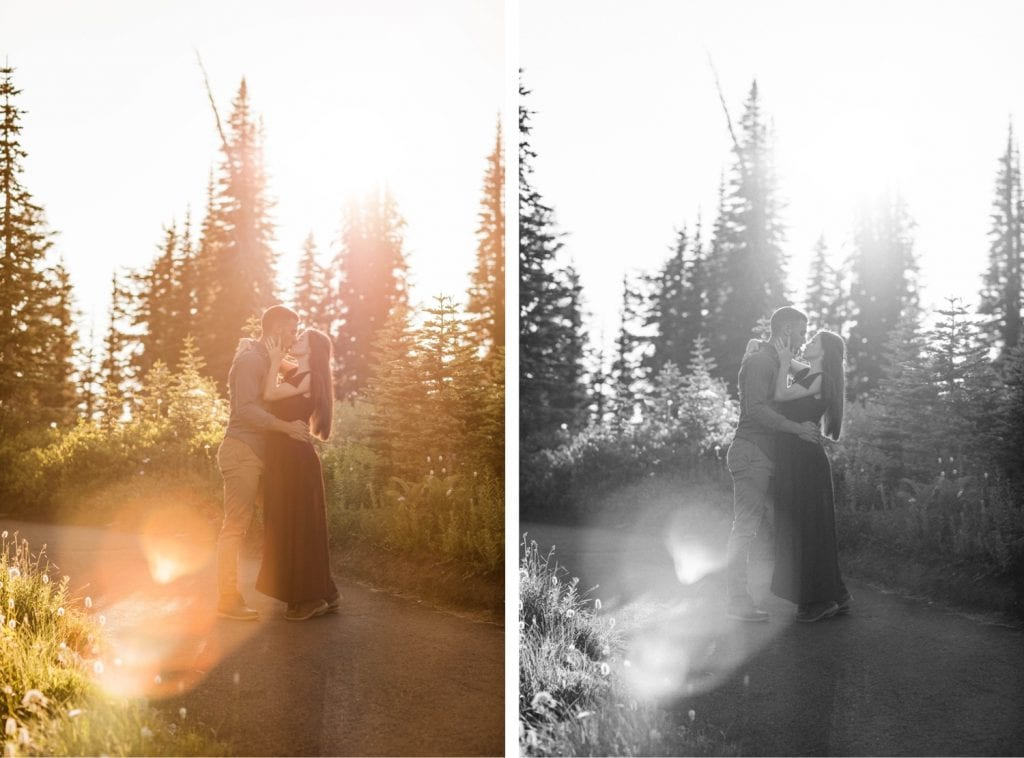 couples engagement photos in Seattle WA at sunset in the mountains