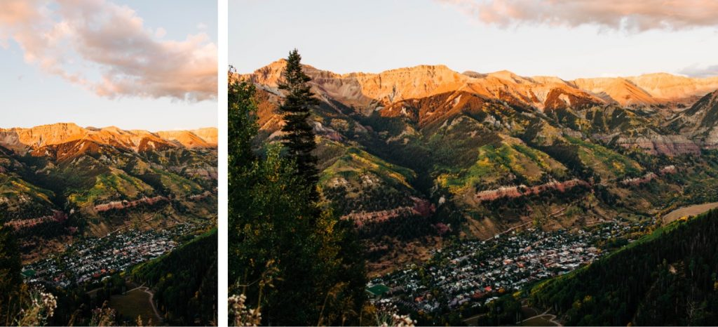 view of the San Juan Mountains before an adventurous small Telluride wedding in September