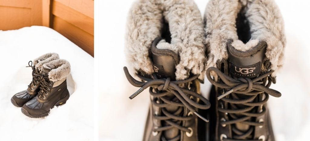 snow boots for a Sapphire Point Overlook wedding