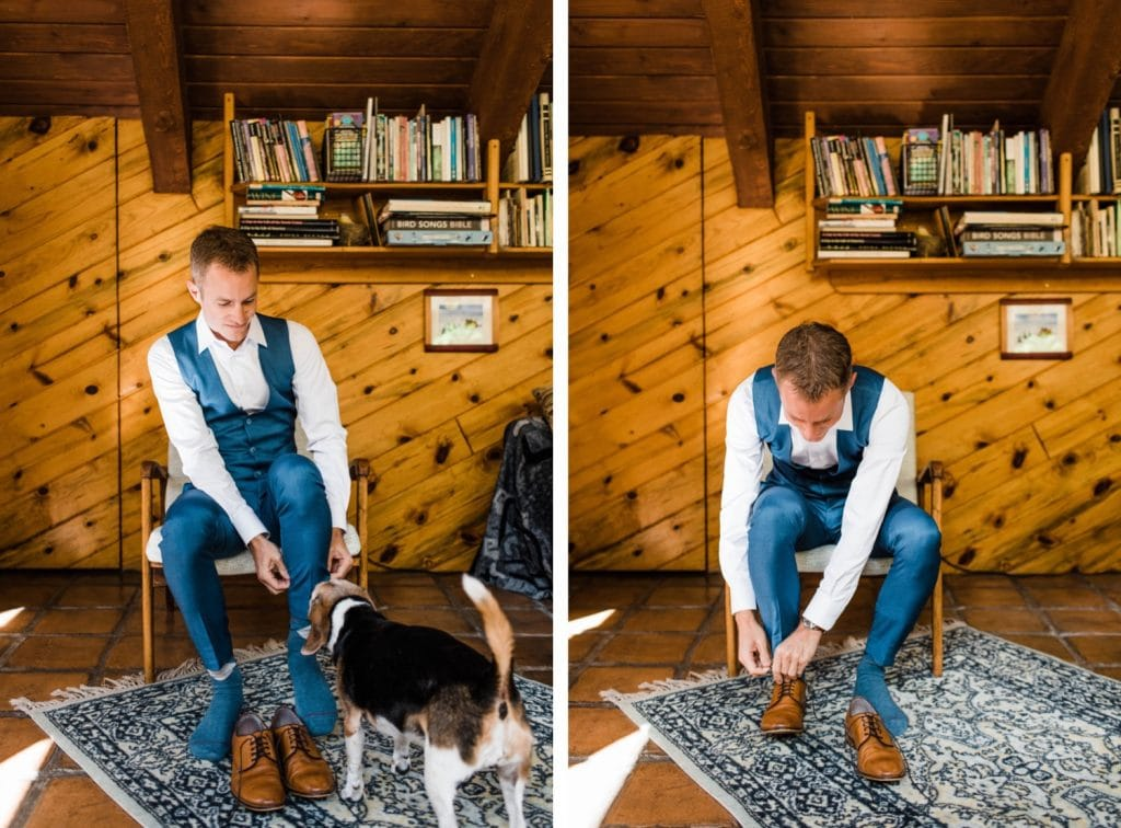 adventurous groom getting ready before his small Telluride wedding at a horse ranch in the San Juan Mountains | photo taken by Telluride wedding photographers