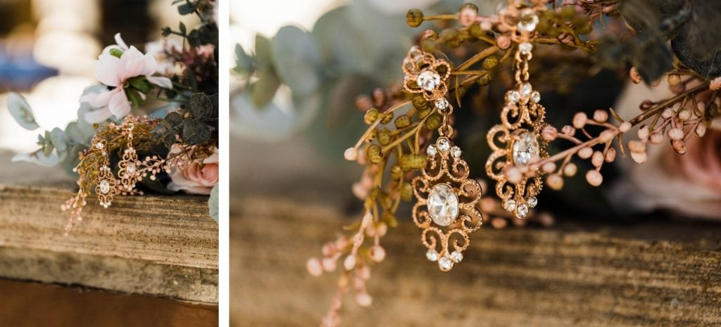 bride's earrings for her Sapphire Point Overlook wedding in Colorado