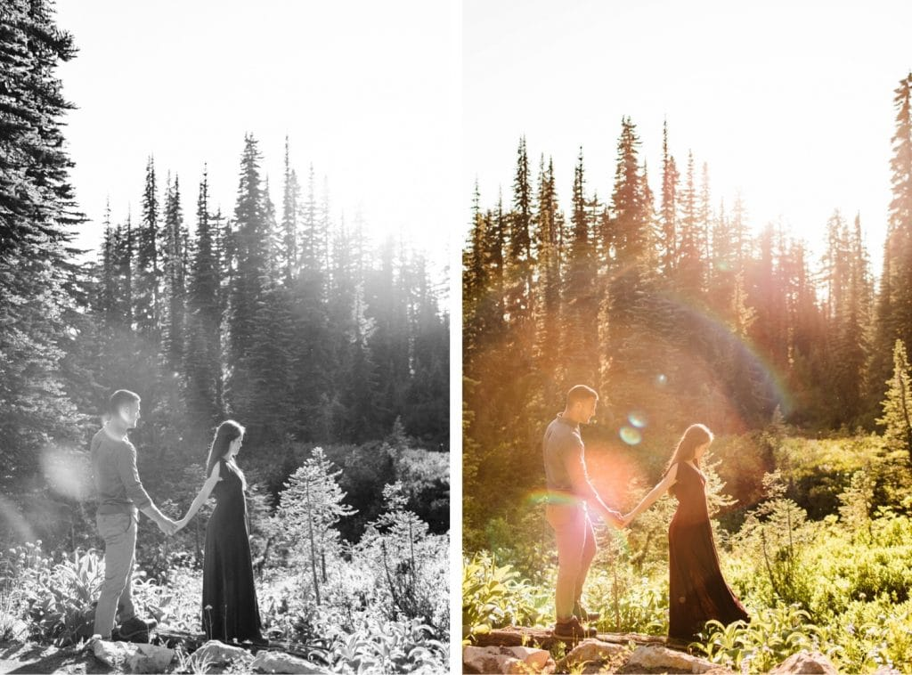 couple wandering through mountains while getting their Seattle engagement photos taken