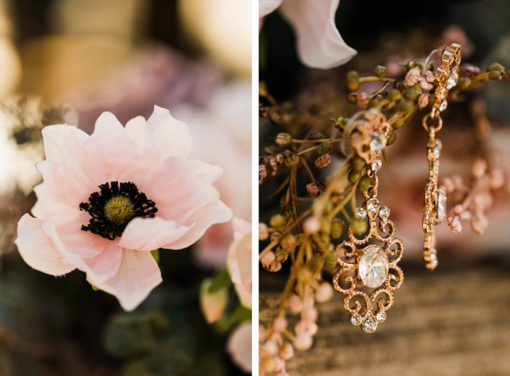 bride's earrings hanging from her bouquet for her Sapphire Point Overlook wedding in Colorado
