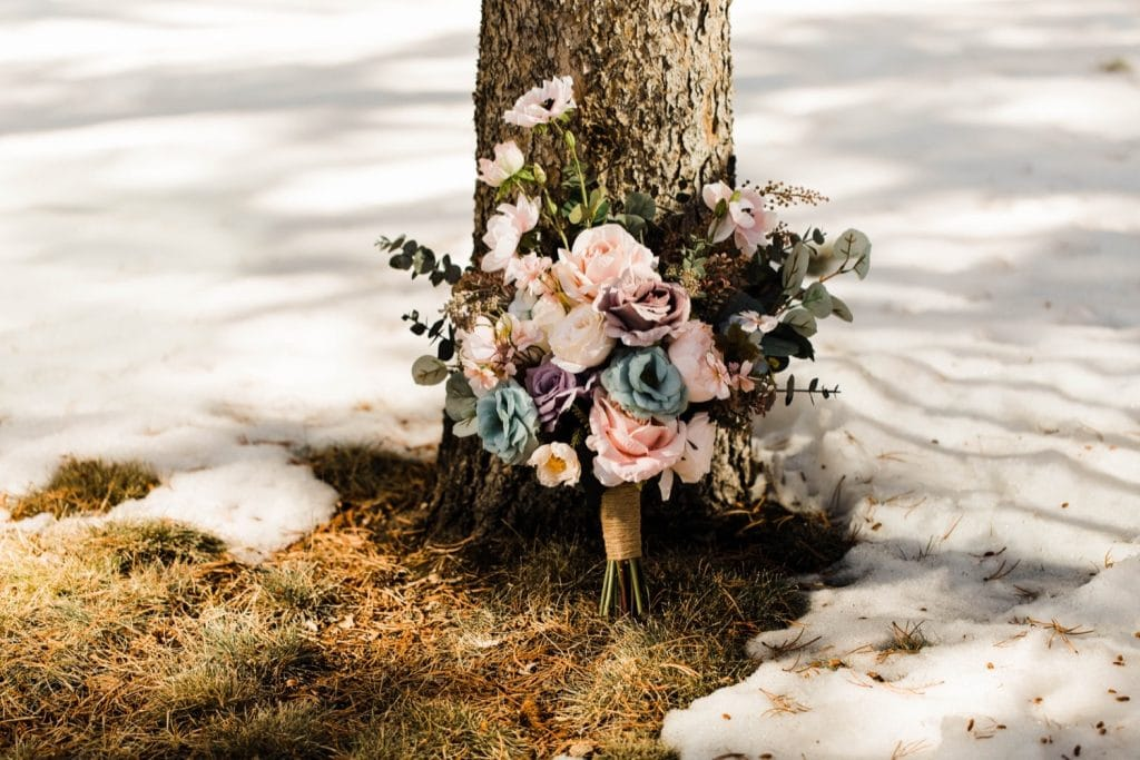 winter bouquet for a Sapphire Point Overlook wedding in Colorado