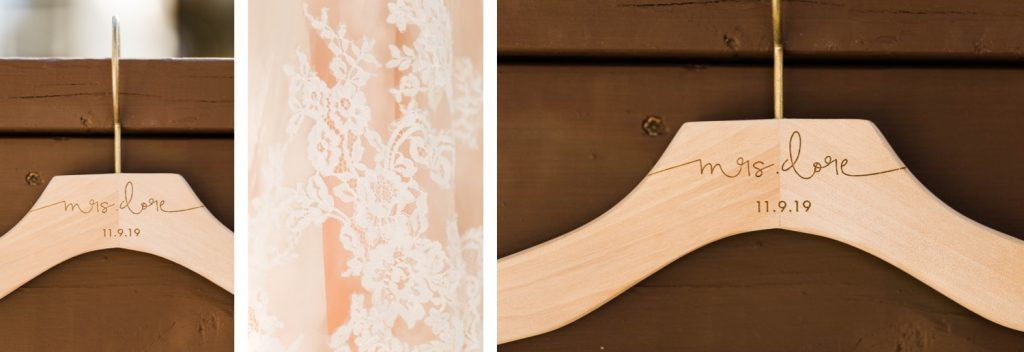 personalized dress hanger for a Sapphire Point Overlook wedding