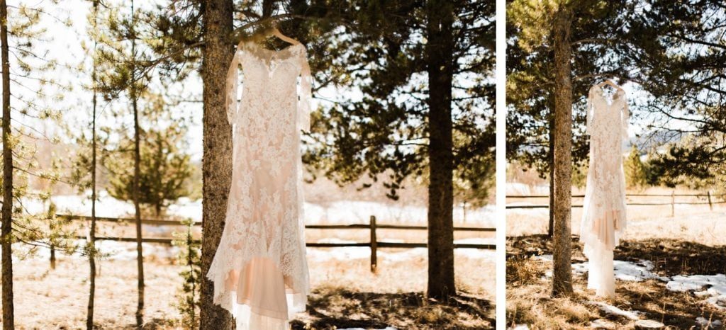 wedding dress hanging on a tree near Sapphire Point Overlook