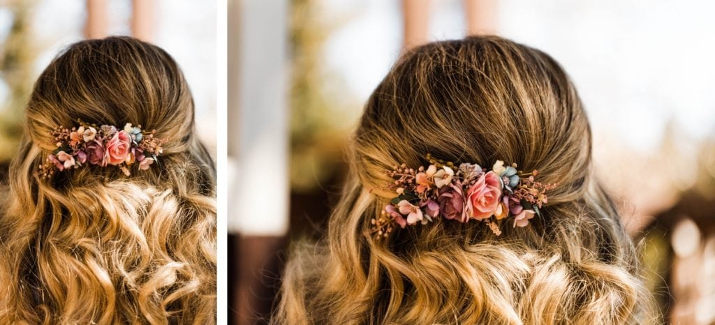 bride's floral hair clip for her Sapphire Point Overlook wedding