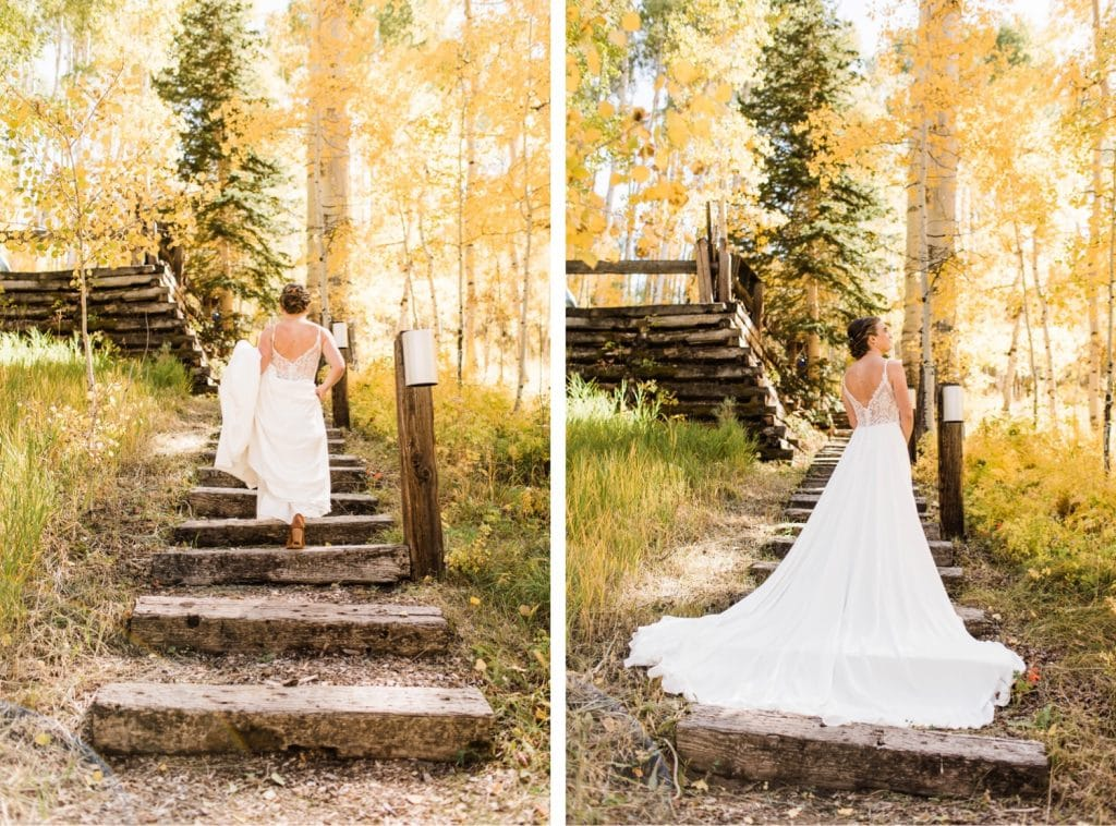 adventurous bride getting ready before her small Telluride wedding at a horse ranch in the San Juan Mountains