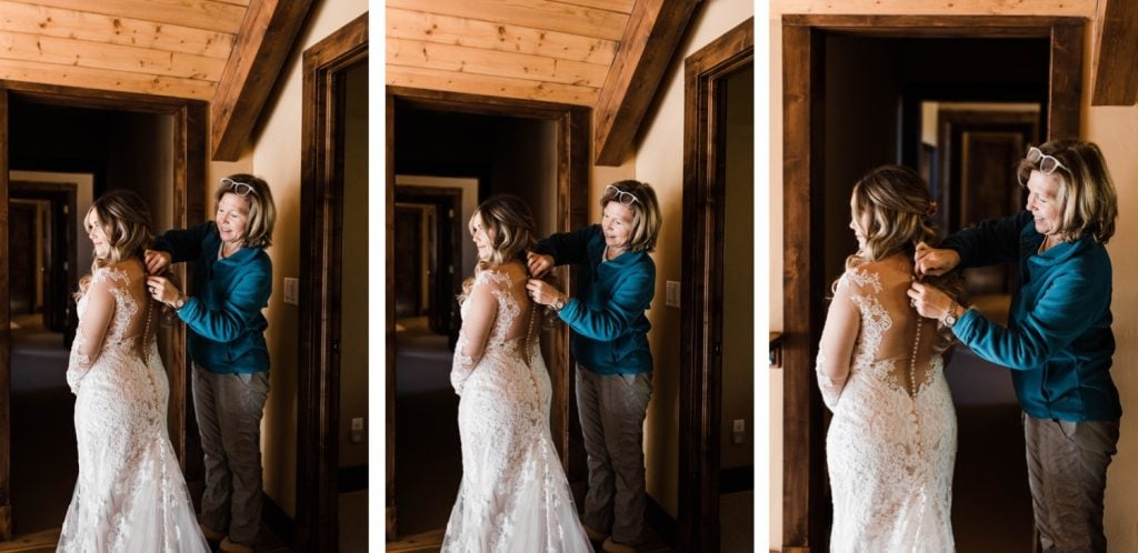 Colorado bride putting on her wedding dress before her Sapphire Point Overlook wedding