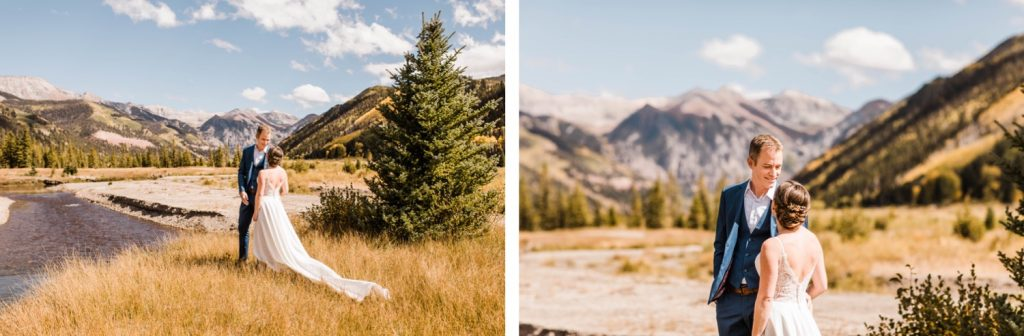 adventurous first look in the mountains of Telluride Colorado before a small Telluride wedding in Colorado