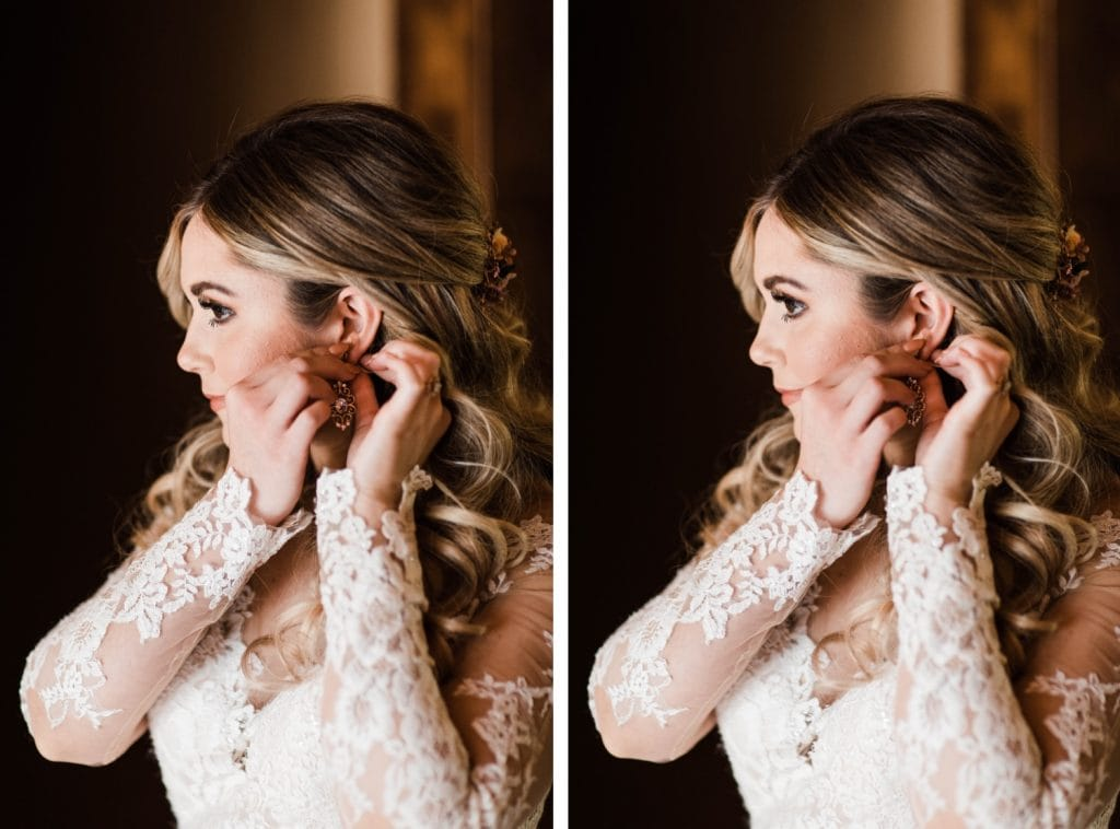 Colorado bride putting on her earrings before her Sapphire Point Overlook wedding