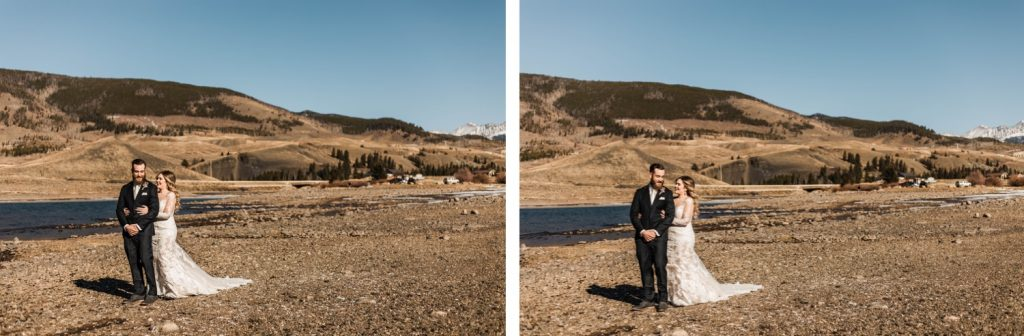 couple having their first look before their Sapphire Point Overlook wedding ceremony