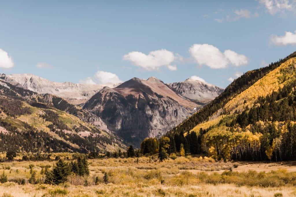 view of the mountains of Telluride before a wedding at a horse ranch on Wilson Mesa