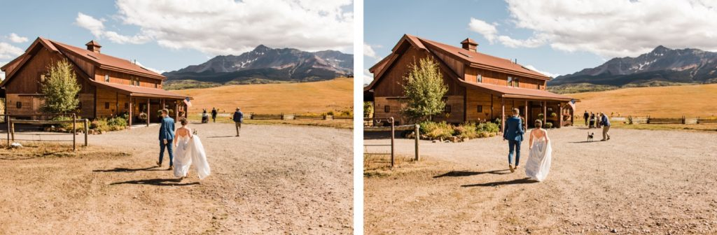 engaged couple arriving to their Telluride wedding venue at a horse ranch on Wilson Mesa