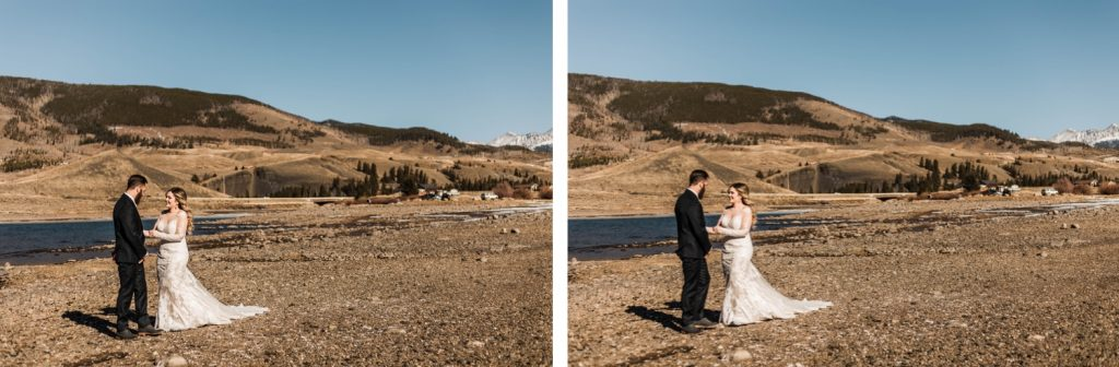couple having their first look before their Sapphire Point Overlook wedding ceremony in Colorado