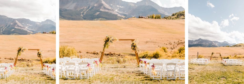 Telluride wedding ceremony site on Wilson Mesa during a small horse ranch Colorado wedding