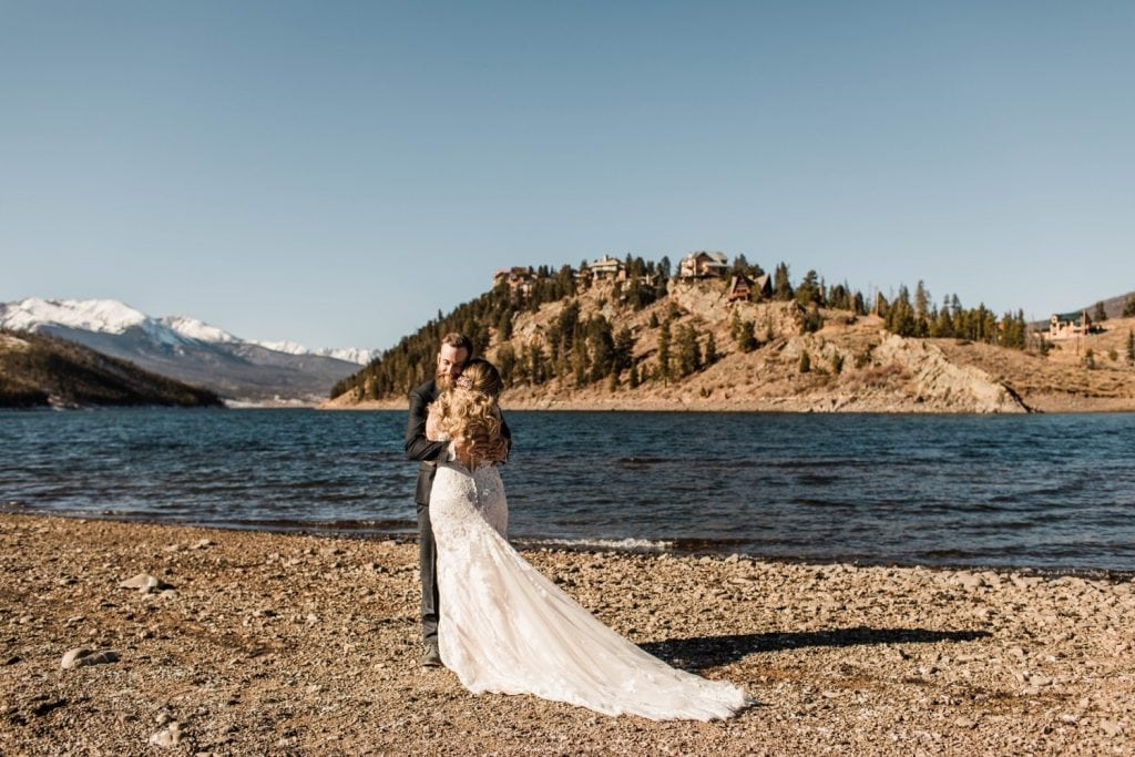 couple having their first look before their Sapphire Point Overlook wedding in Colorado