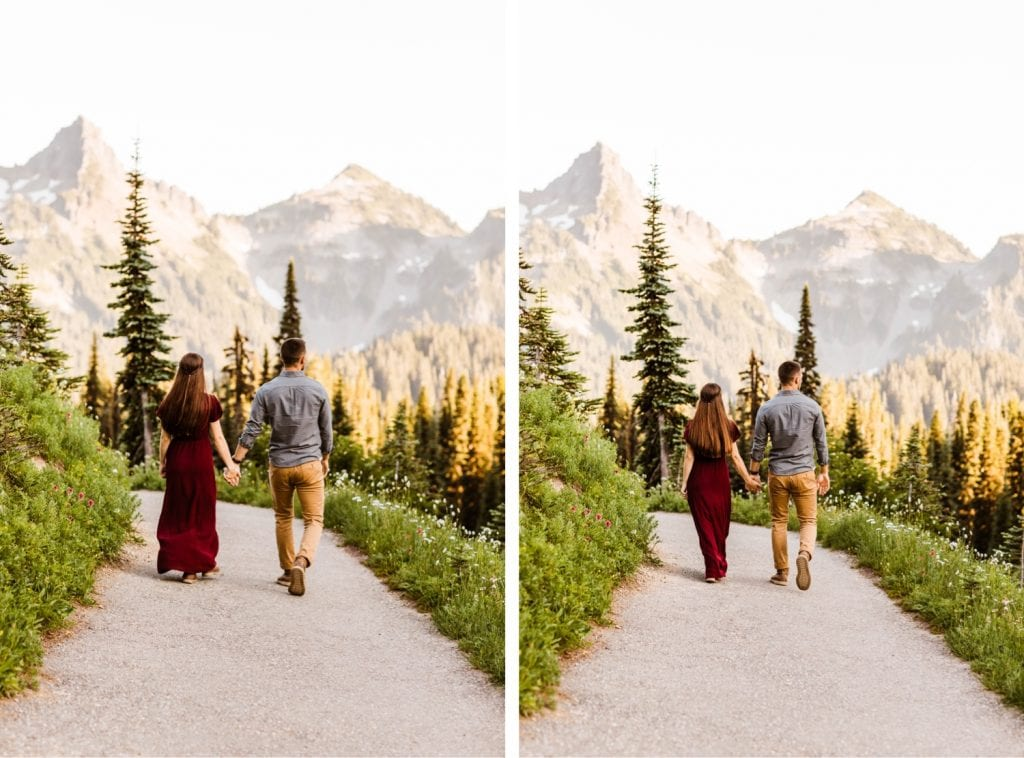 engaged couple walking down a hiking trail in a national park during their engagement photos in Seattle Washington