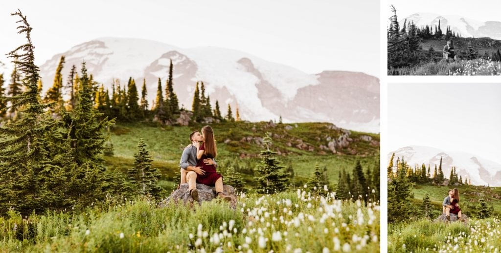 couple kissing on a rock in the middle of a wildflower field during their engagement photos in Seattle WA