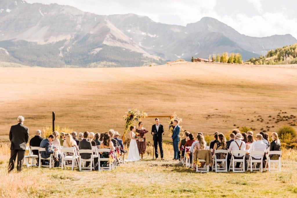 small ceremony for a Telluride wedding in September