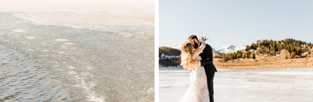 couple dancing on the ice of Dillon Reservoir before their Sapphire Point Overlook wedding ceremony